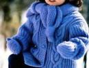 Вяжем спицами зимнюю куртку для девочки — описание и схемы.