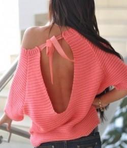 Вяжем пуловер с открытой спиной.