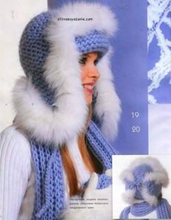 Стильная вязаная шапка-ушанка с мехом и милый шарфик.