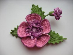 Красивая брошь цветок крючком — мастер класс.