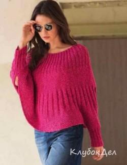 Розовый пуловер-пончо. Вязание спицами для женщин