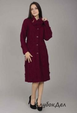 Пальто с воротником спицами, схема. Вязание для женщин на спицах