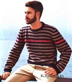 Мужской пуловер в полоску