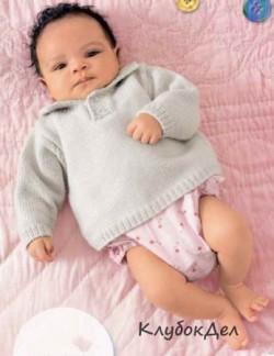 Детский пуловер с воротником поло