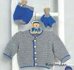 Жакет, шапочка и носочки для новорожденных. Вязание спицами