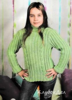 Зеленый пуловер для девочки. Вязание спицами для детей, схема и описание