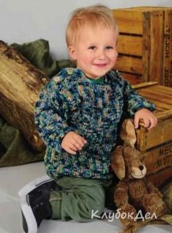 Детский пуловер с застёжками на плечах, связанный крючком. Вязание для детей