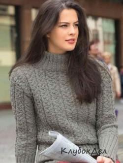 Пуловер с плетеным узором. Вязание спицами для женщин