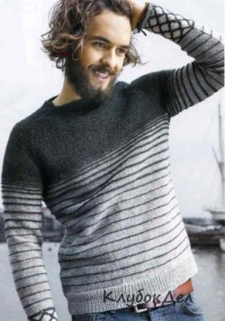 Мужской вязаный пуловер реглан. Вязание спицами для мужчин