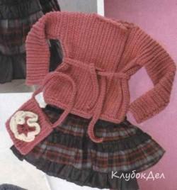 Двубортный жакет и сумочка крючком для детей. Описание вязания
