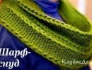 Шарф-снуд спицами. Вязаный для женщин снуд с описанием вязания