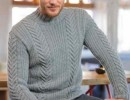 Мужской свитер с косами. Вязание спицами для мужчин