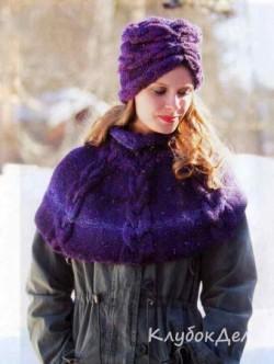 Мини-пончо и шапка с косами. Вязание спицами для женщин со схемой и описанием