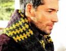 Вязаный мужской шарф кольцо. Красивый шарф спицами для мужчин
