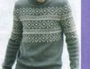 Мужской пуловер спицами с жаккардовым узором. Вязание для мужчин