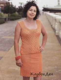 Оранжевый костюм крючком: юбка и топ. Вязание крючком схемы и описание