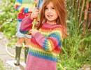 Разноцветный пуловер для девочки. Вязание спицами для детей