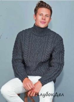 Мужской пуловер с фантазийным узором, вязанный спицами схема и выкройка