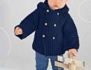 Жакет с капюшоном для мальчика до 2 лет. Вязание спицами выкройка и описание