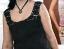 Черный топ с кружевными бретелями. Вязание спицами для женщин