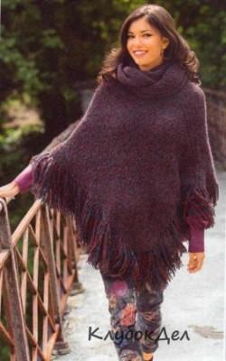 Двухцветное пончо и воротник-хомут выполненные на спицах