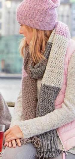 Женская шапка и шарф спицами. Описание вязания шапки и шарфа