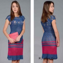 Красно-синее платье вязаное крючком для женщин