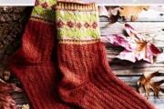Мужские носки с жаккардовым орнаментом. Связать мужские носки спицами