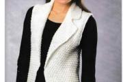 Удлинённый белый жилет. Вязание крючком для женщин