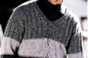 Джемпер мужской. Вязаный джемпер спицами для мужчин с описанием