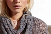 Снуд с ажурными зигзагами. Вязаный спицами шарф для женщин