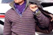 Полосатый пуловер с воротником поло
