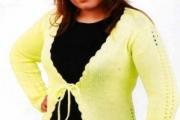 Женский кардиган лимонного цвета. Вязание спицами для женщин