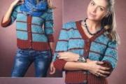 Кардиган в полоску со схемами вязания. Вязание спицами для женщин