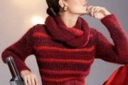 Пуловер и шарф-воротник. Вязание спицами для женщин
