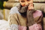 Пончо-пуловер с цветными мотивами. Вязание для женщин спицами