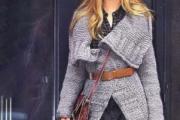 Пальто с широкими лацканами для женщин. Вязание спицами пальто со схемами