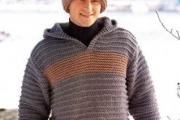 Мужской пуловер с капюшоном, шапка и варежки