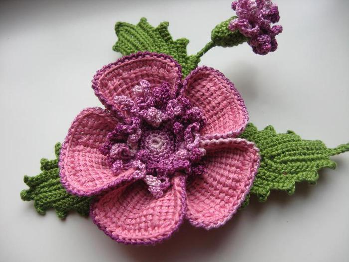 красивая брошь цветок крючком мастер класс рукоделие Nitochka