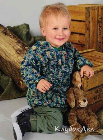 детский пуловер с застёжками на плечах связанный крючком вязание