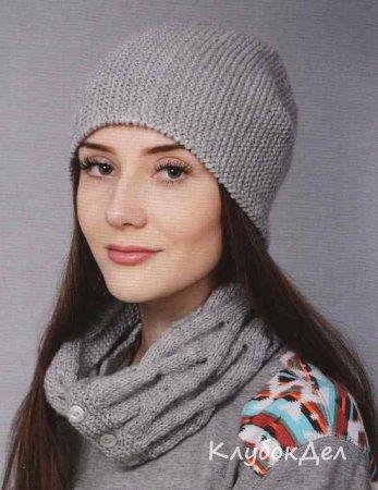 шапка и шарф воротник вязание спицами для женщин рукоделие