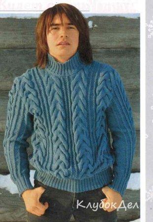 вязаный мужской свитер с косами вязание спицами для мужчин