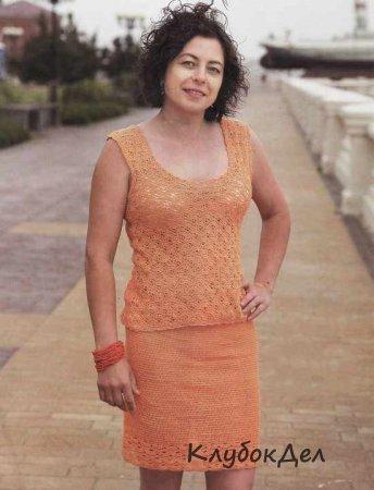 оранжевый костюм крючком юбка и топ вязание крючком схемы и